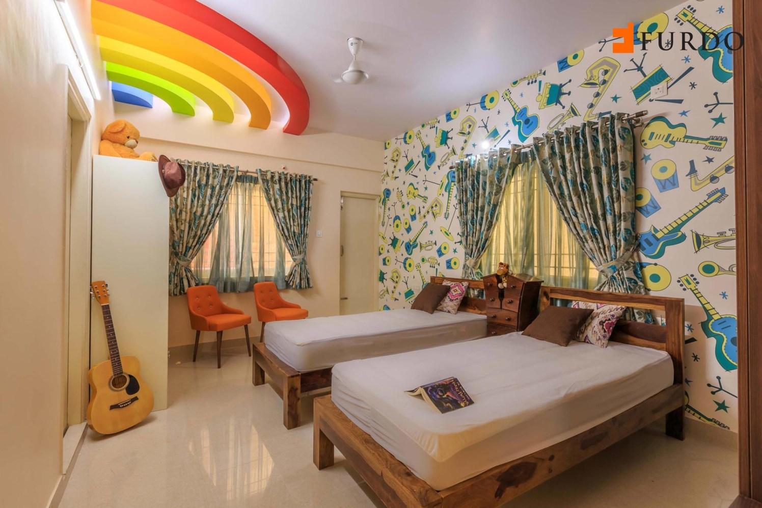 Kid's Bedroom With Amazing Wall Art by Furdo.com Bedroom Modern | Interior Design Photos & Ideas