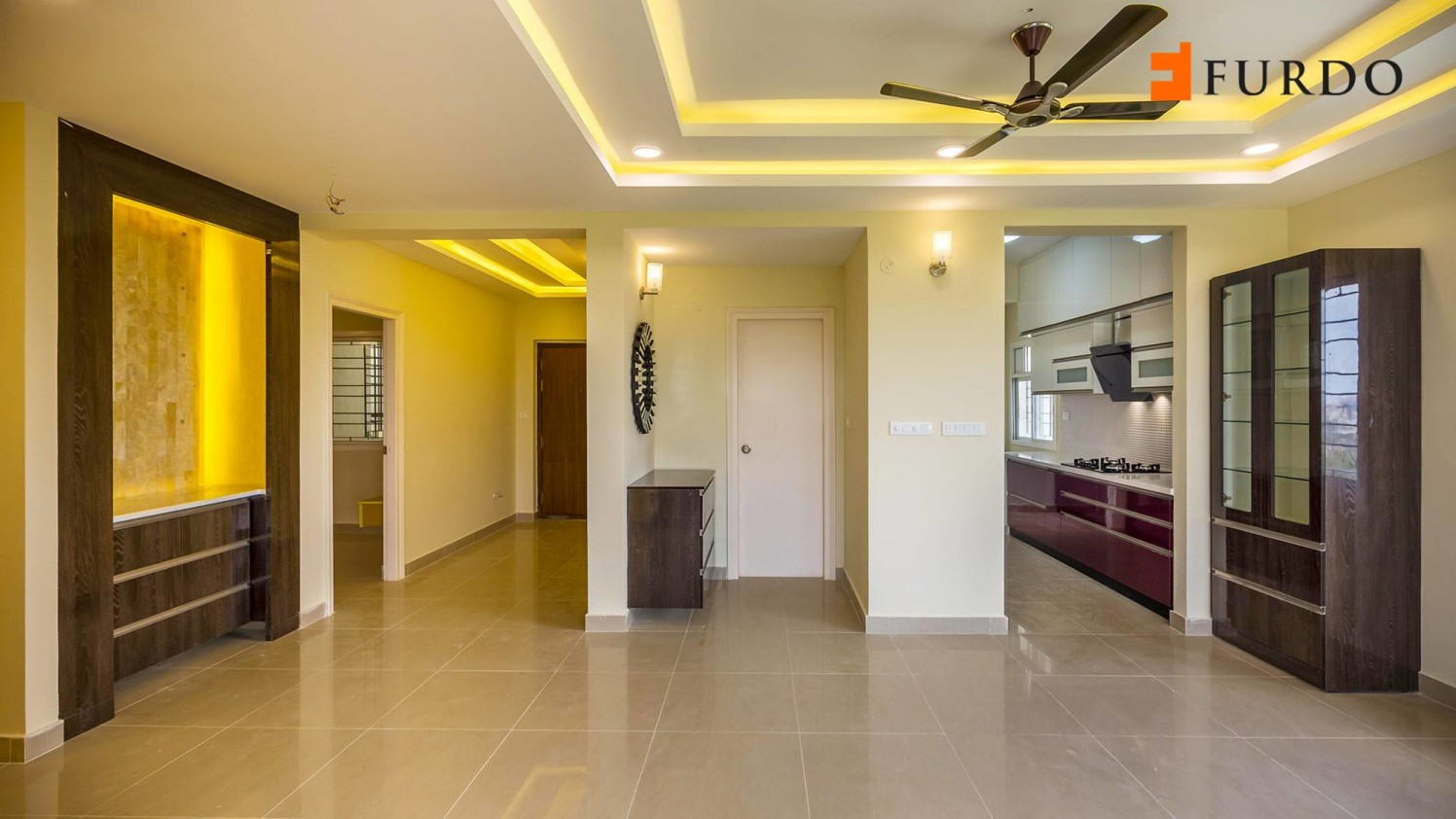Hallway With White False Ceiling And Marble Flooring by Furdo.com Living-room Modern | Interior Design Photos & Ideas