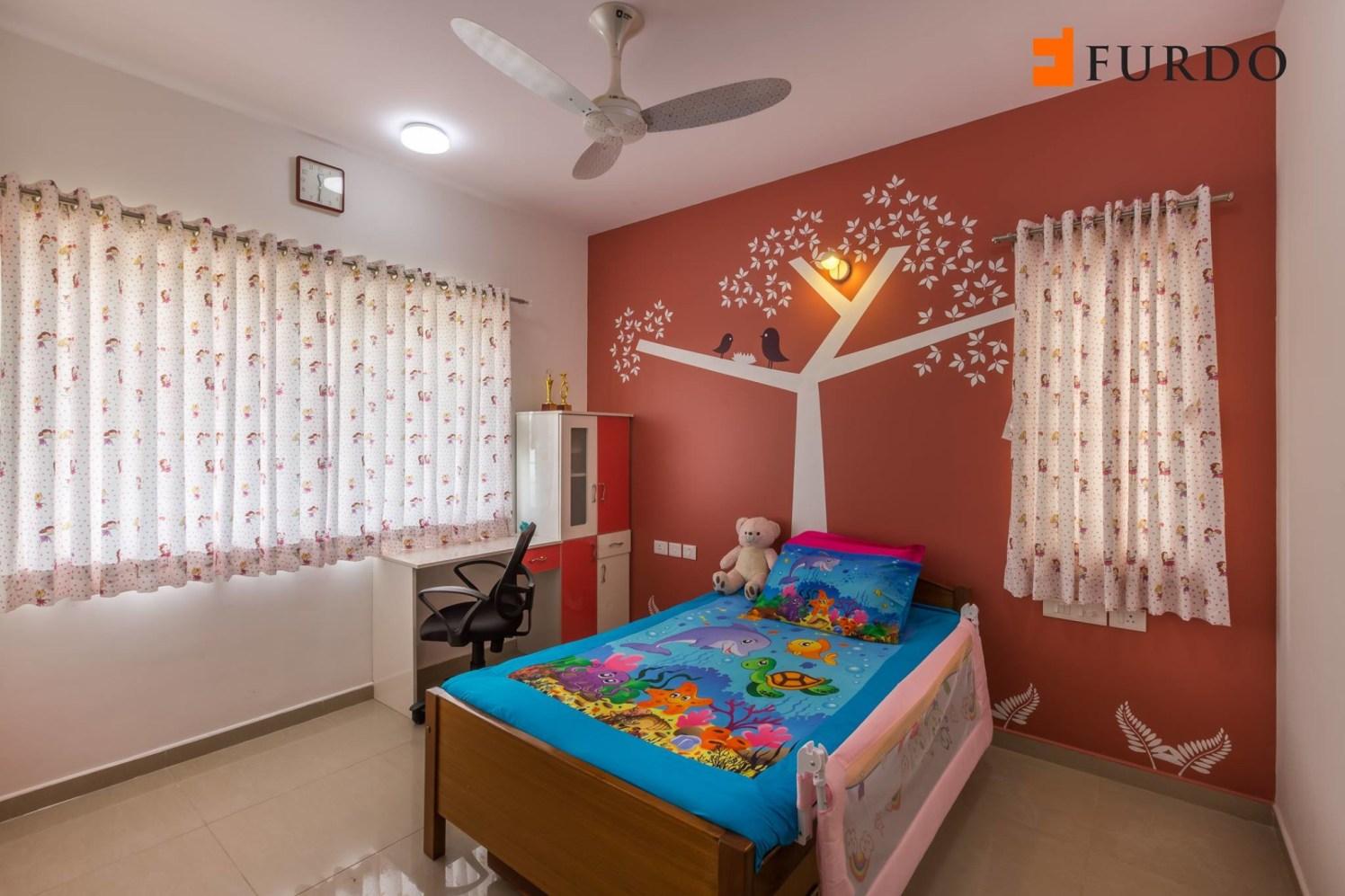 Kid's Bedroom With Red Wall Art by Furdo.com Bedroom Modern | Interior Design Photos & Ideas