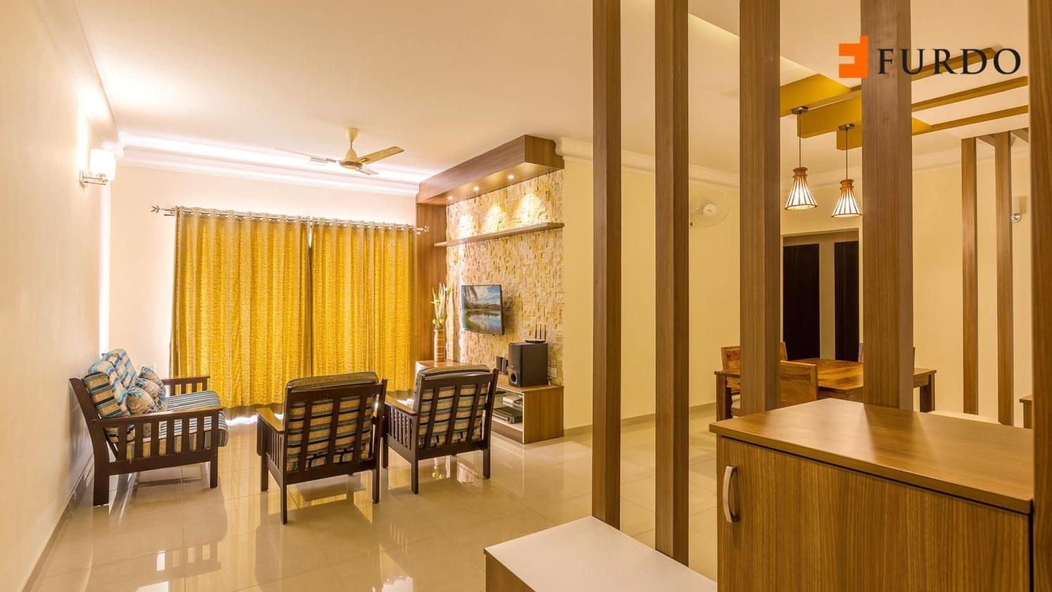 Living Room With Yellow Curtains And White Ceiling by Furdo.com Living-room Contemporary | Interior Design Photos & Ideas