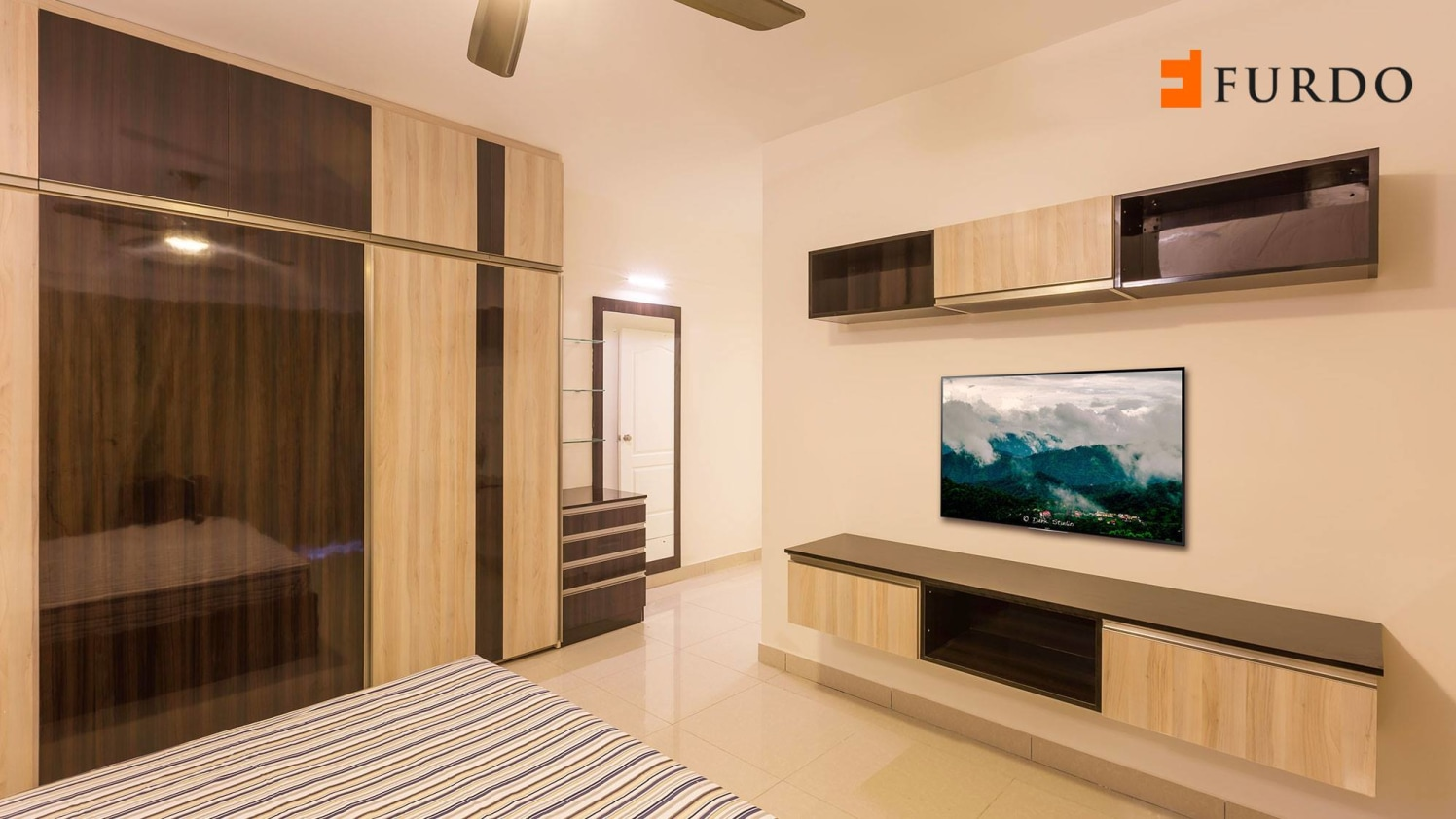 Bedroom With Wooden Work and marble flooring by Furdo.com Bedroom Modern | Interior Design Photos & Ideas