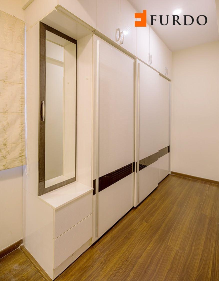 Bedroom With Milky Shade Wardrobe by Furdo.com Bedroom Modern | Interior Design Photos & Ideas