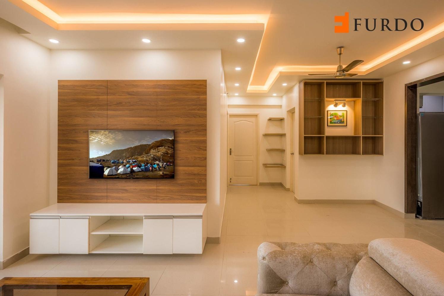 Living Room With Marble Flooring and false ceiling by Furdo.com Living-room Contemporary | Interior Design Photos & Ideas