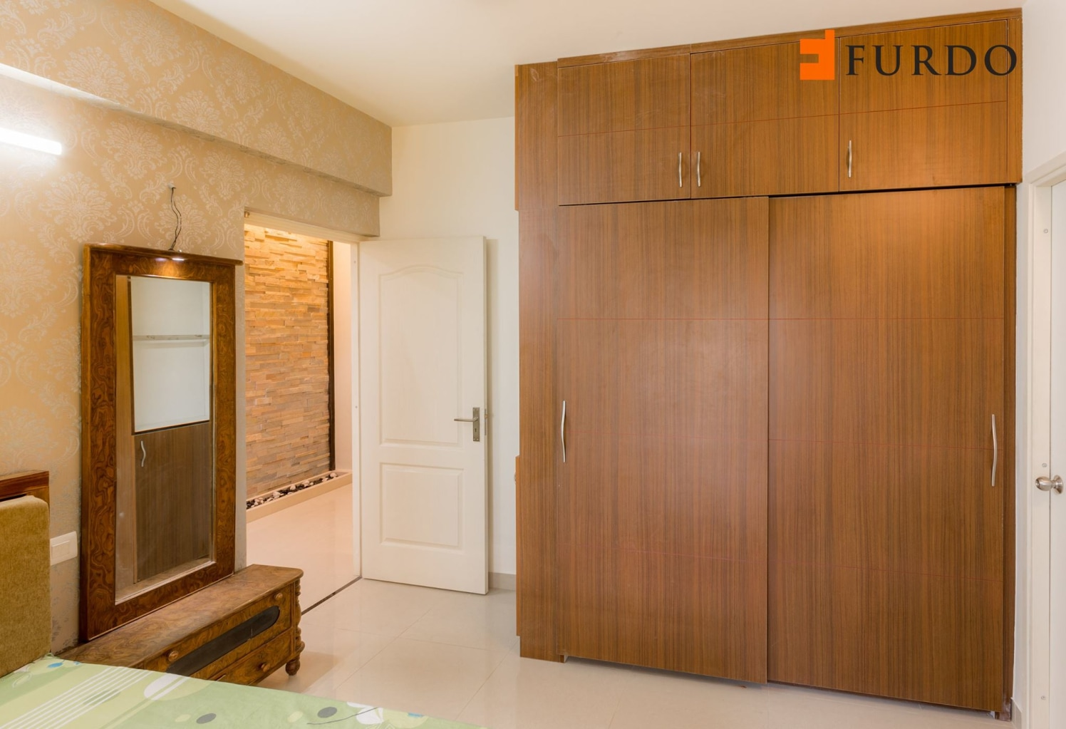Bedroom With Wooden Wardrobe  and marble  flooring by Furdo.com Bedroom Modern | Interior Design Photos & Ideas