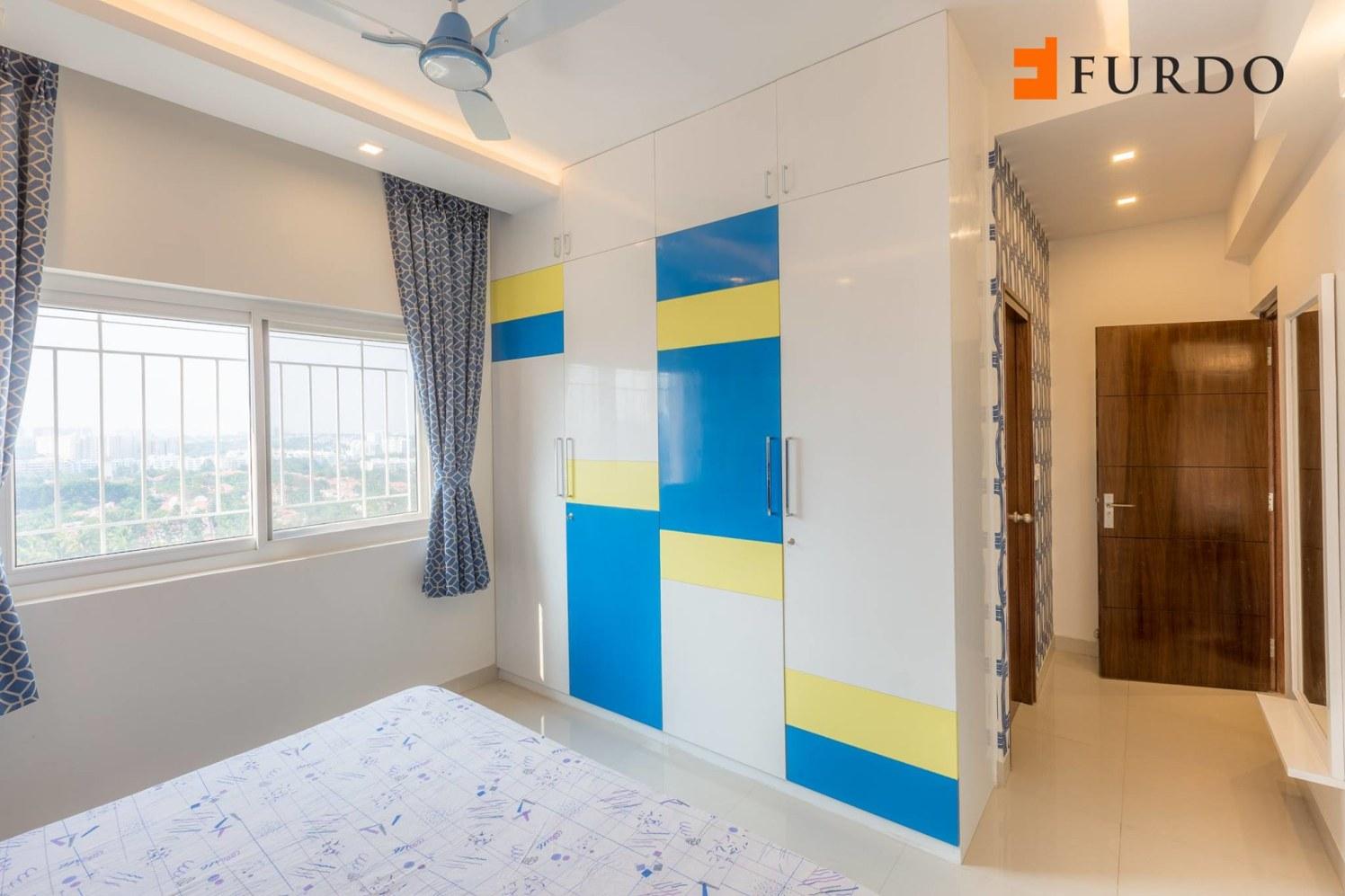 Kids Bedroom With Colorful Wardrobe by Furdo.com Bedroom Modern | Interior Design Photos & Ideas