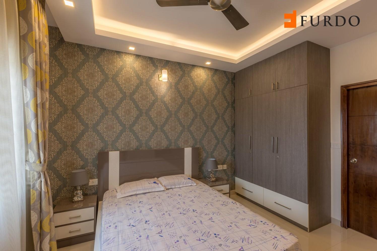 Guest Bedroom With Wooden Wardrobe by Furdo.com Bedroom Modern | Interior Design Photos & Ideas