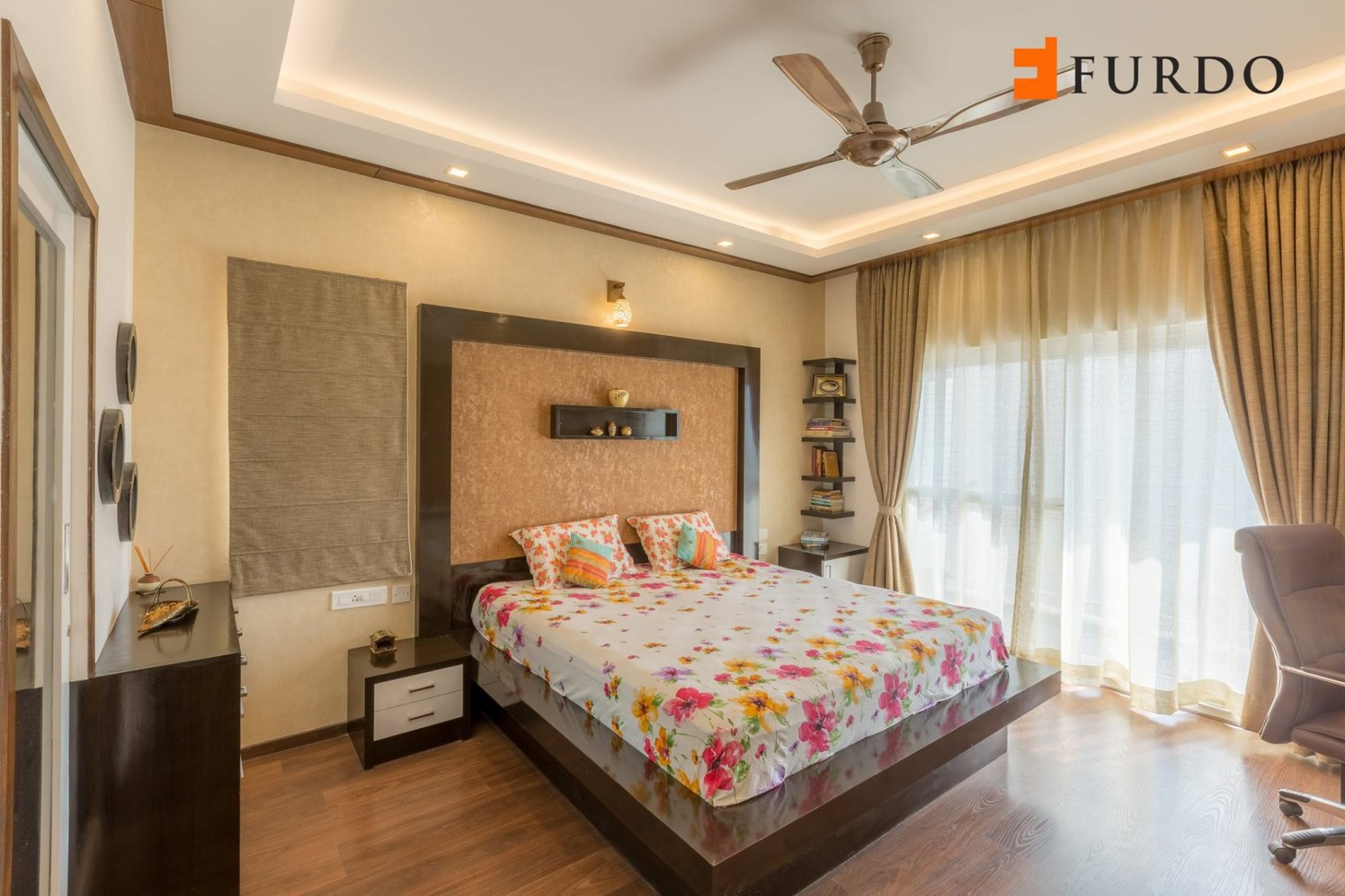 Bedroom With Wooden Flooring And False Ceiling by Furdo.com Bedroom Contemporary | Interior Design Photos & Ideas