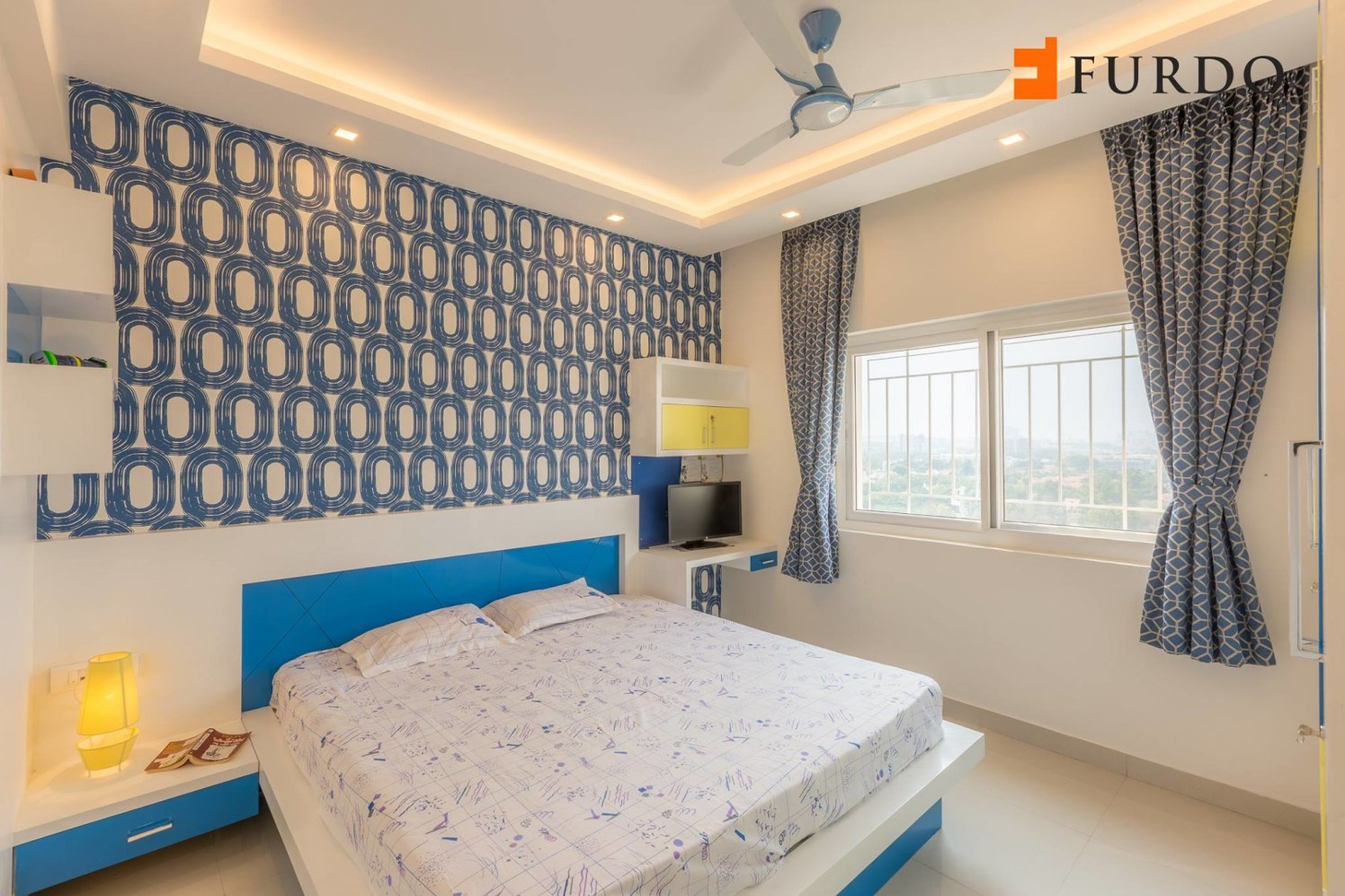 Kids Bedroom With Wall Art And Flase Ceiling by Furdo.com Bedroom Contemporary | Interior Design Photos & Ideas