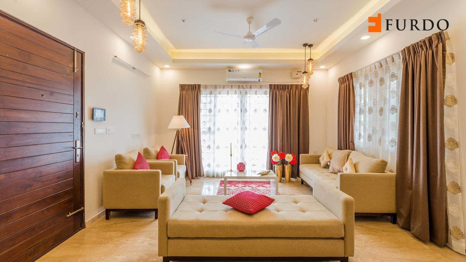 Living Room With Beige Shade Furniture by Furdo.com Living-room Contemporary | Interior Design Photos & Ideas