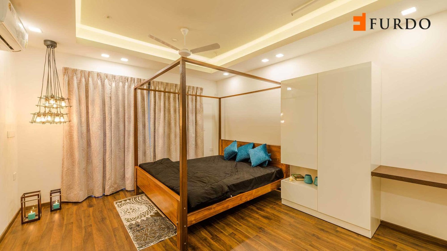 Bedroom With Wooden Flooring And Modern False Ceiling by Furdo.com Bedroom Modern | Interior Design Photos & Ideas