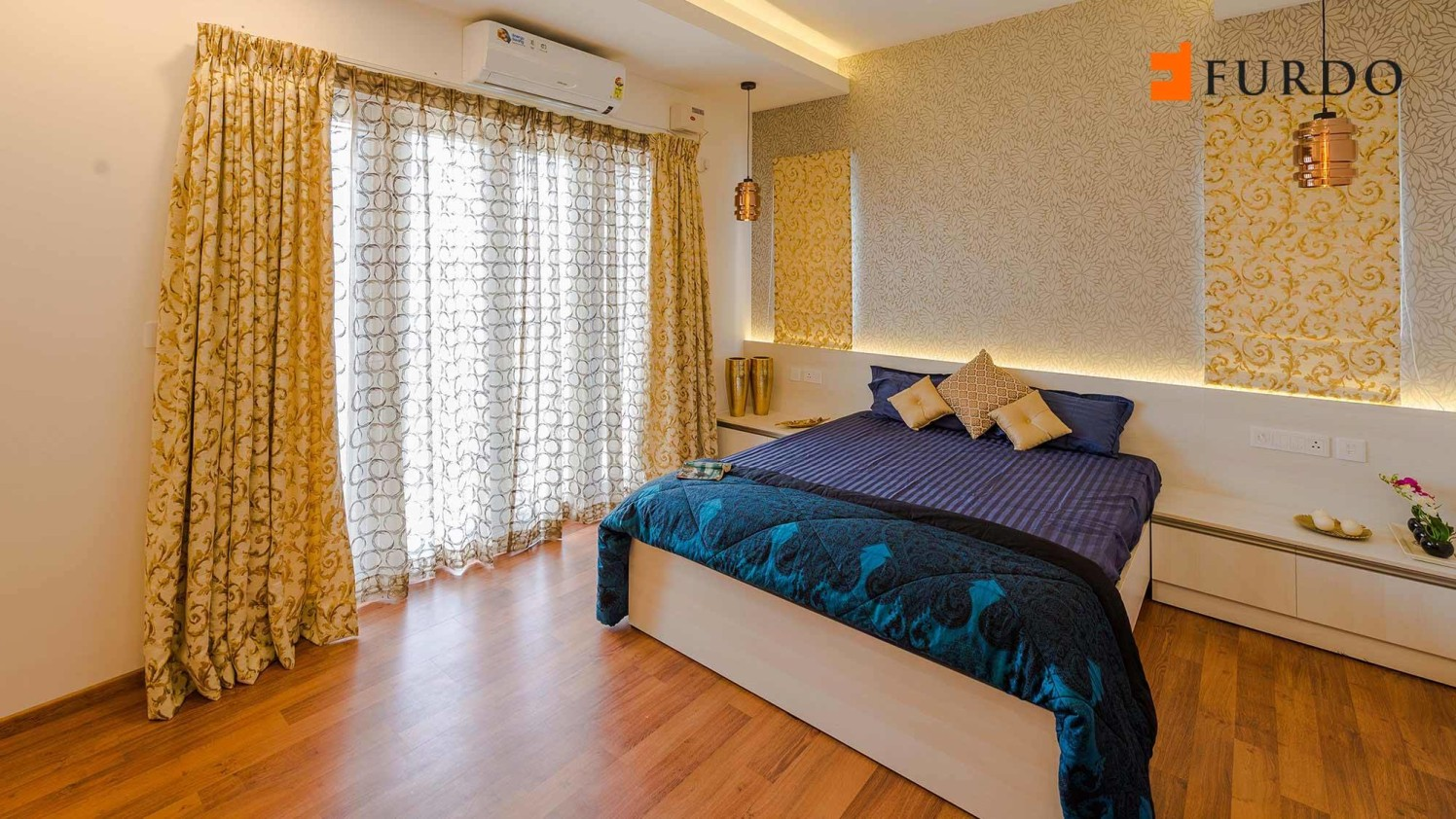 Bedroom With Artistic Wall Art  and wooden flooring by Furdo.com Bedroom Contemporary   Interior Design Photos & Ideas