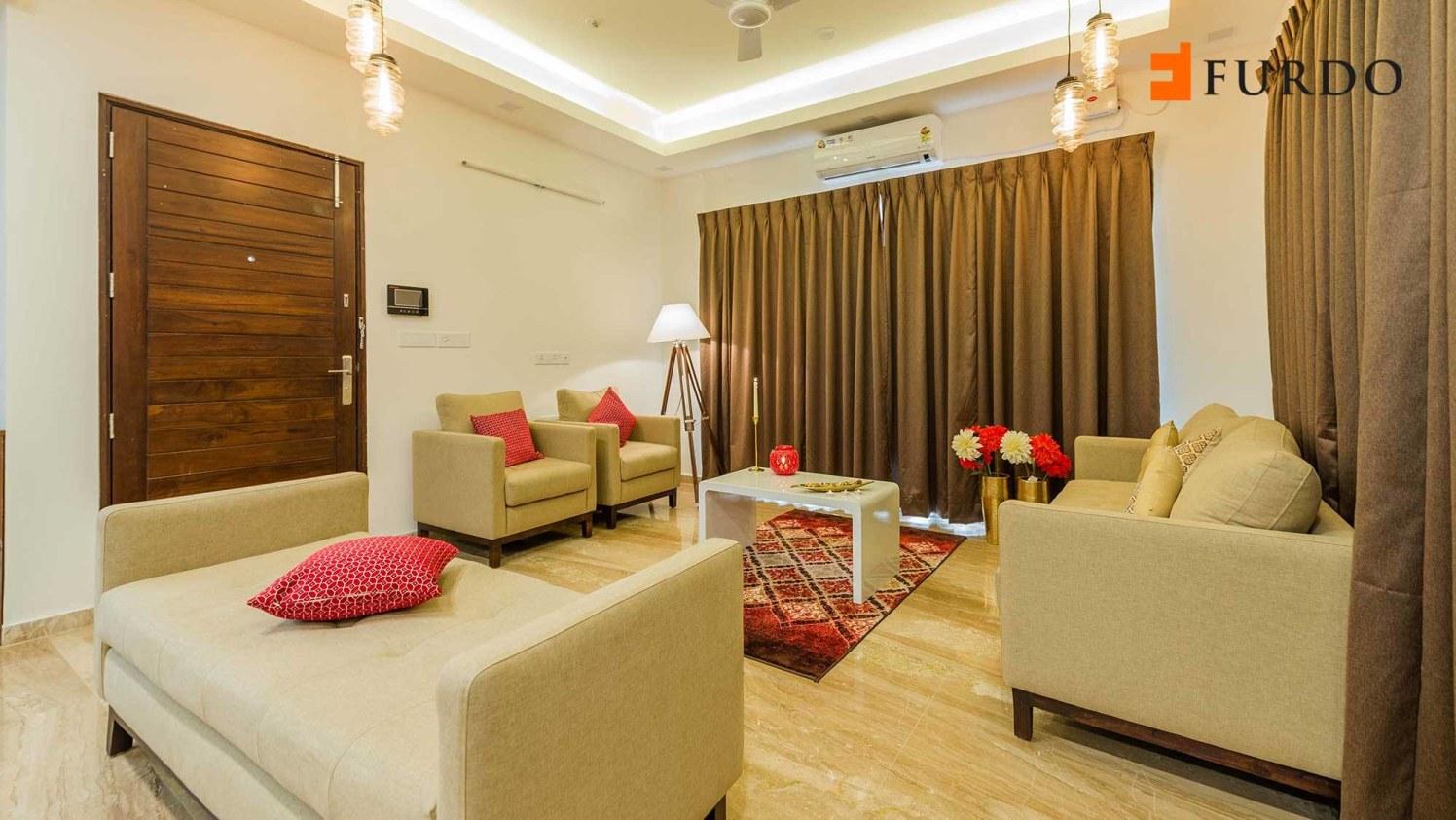 Living Room With Beige Shade Sofa And Marble Flooring by Furdo.com Living-room Contemporary | Interior Design Photos & Ideas