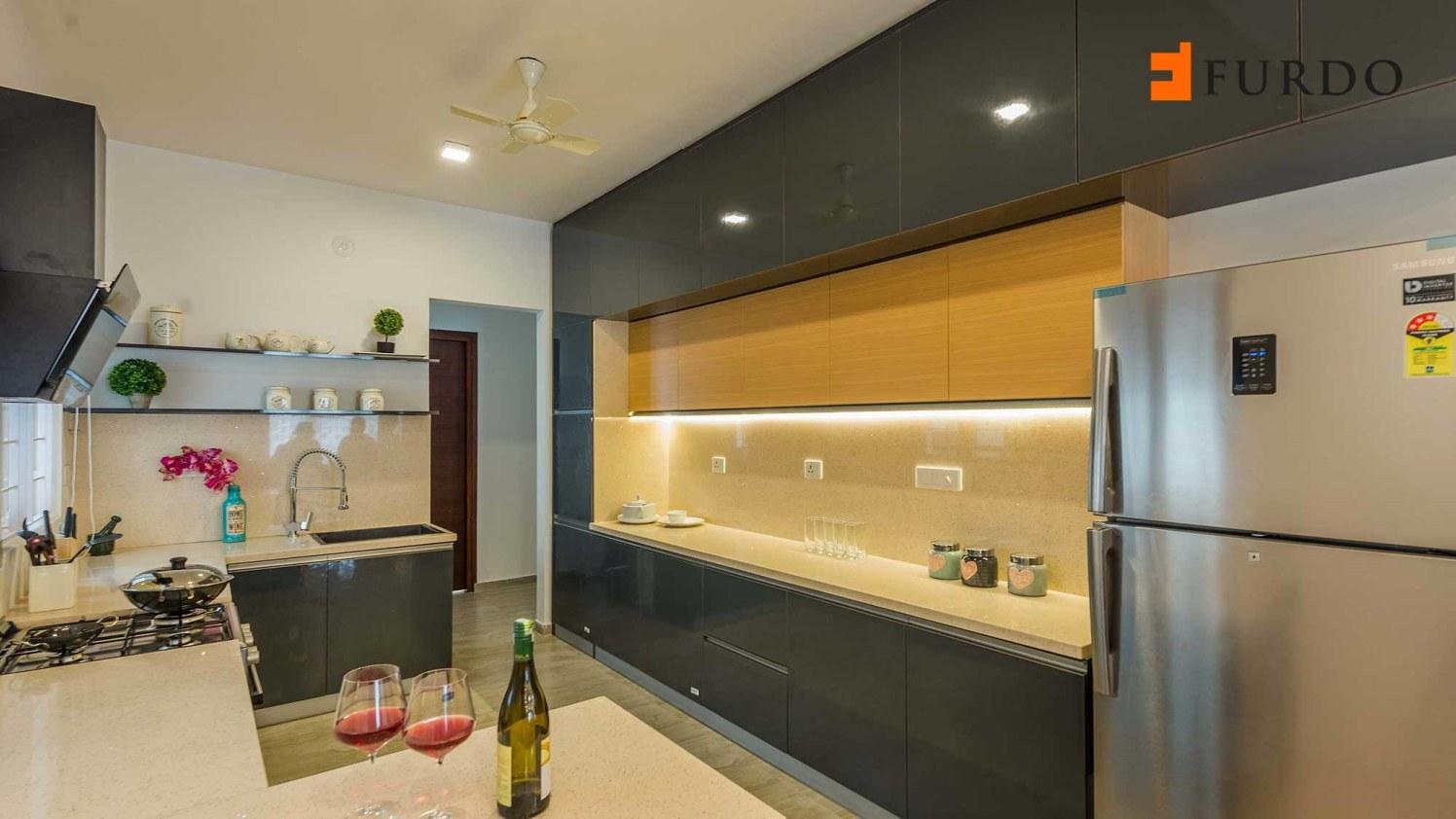 U shape kitchen with wooden flooring and display  unit by Furdo.com Modular-kitchen Modern | Interior Design Photos & Ideas