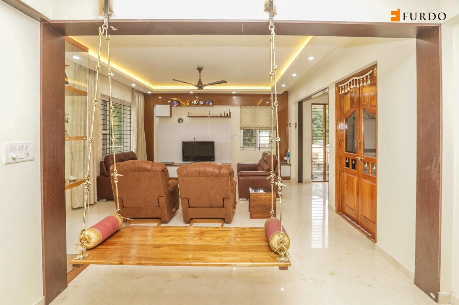Living Room With Wooden Swing by Furdo.com Living-room Traditional   Interior Design Photos & Ideas