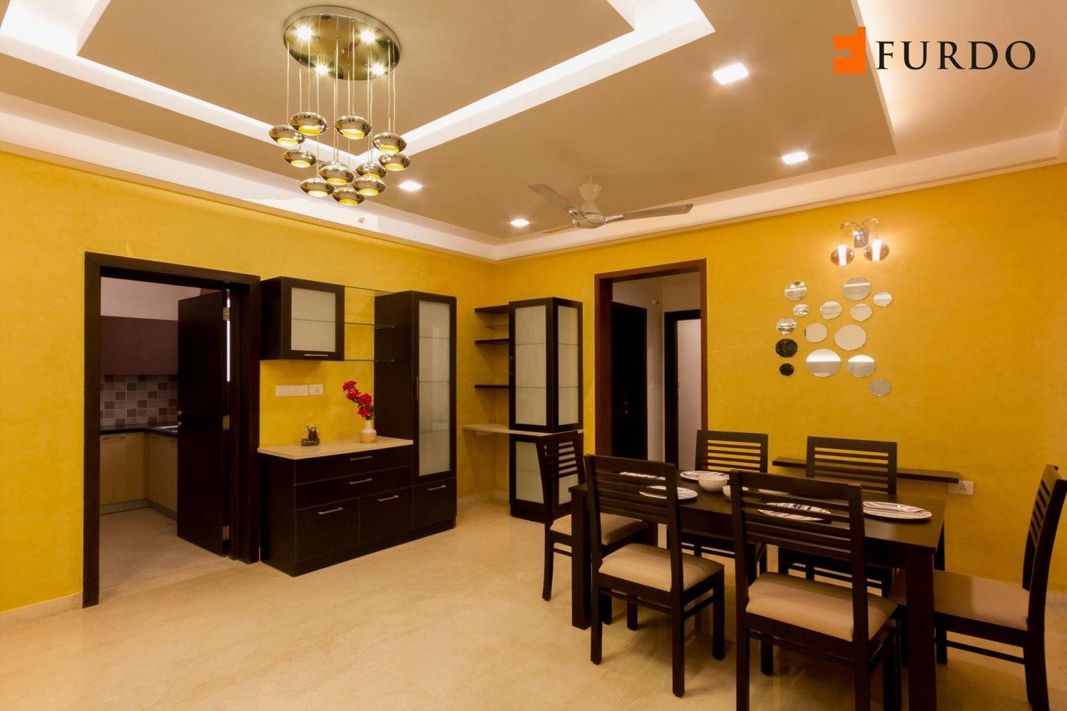 Dining Room With Artistic False Ceiling by Furdo.com Dining-room Modern | Interior Design Photos & Ideas