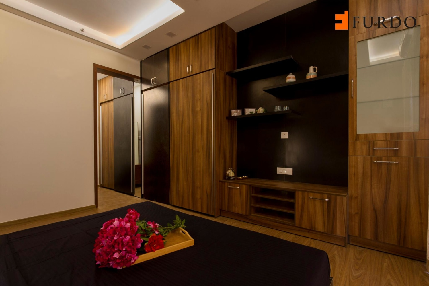 Bedroom With Wooden Wardrobe And Dressing Table by Furdo.com Bedroom Modern | Interior Design Photos & Ideas