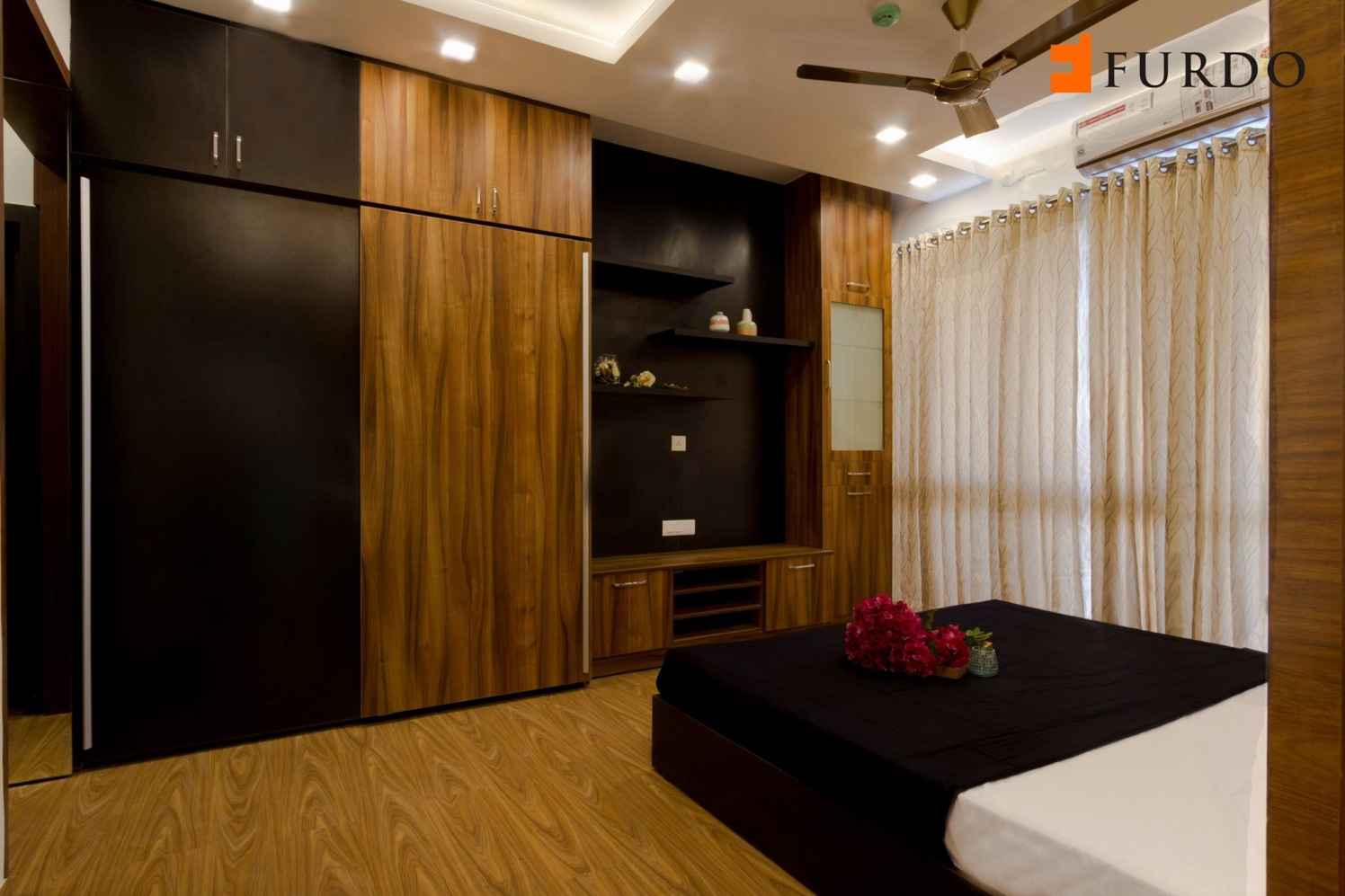 Bedroom With Wooden Furnishing and black wardrobe by Furdo.com Bedroom Modern | Interior Design Photos & Ideas