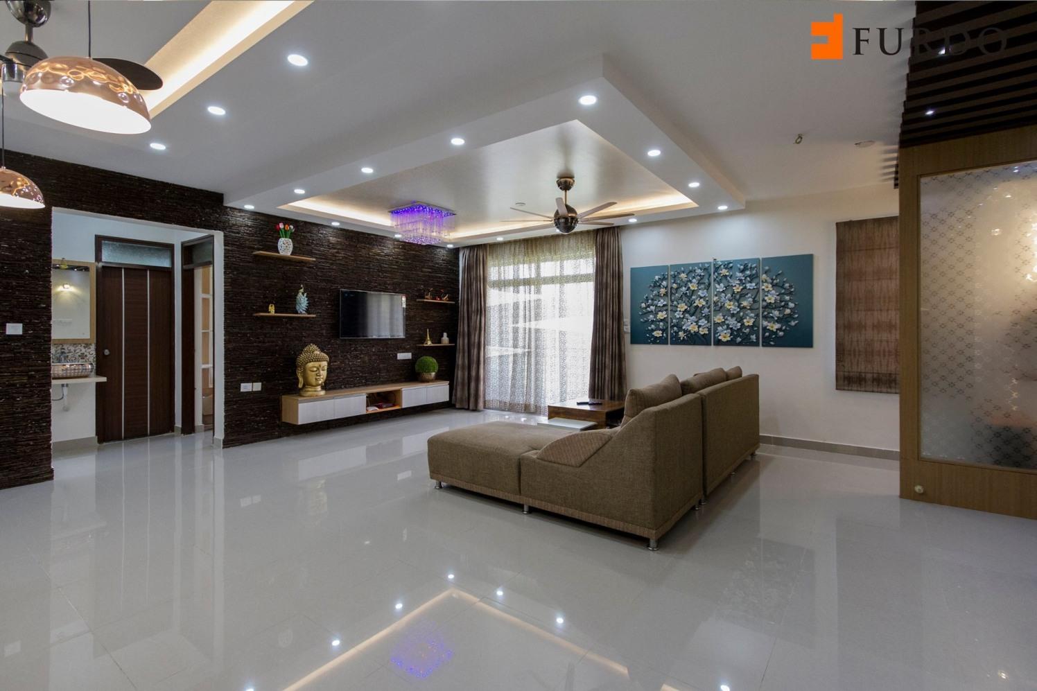 Living Room With Marble Flooring And Modern False ceiling by Furdo.com Living-room Modern   Interior Design Photos & Ideas