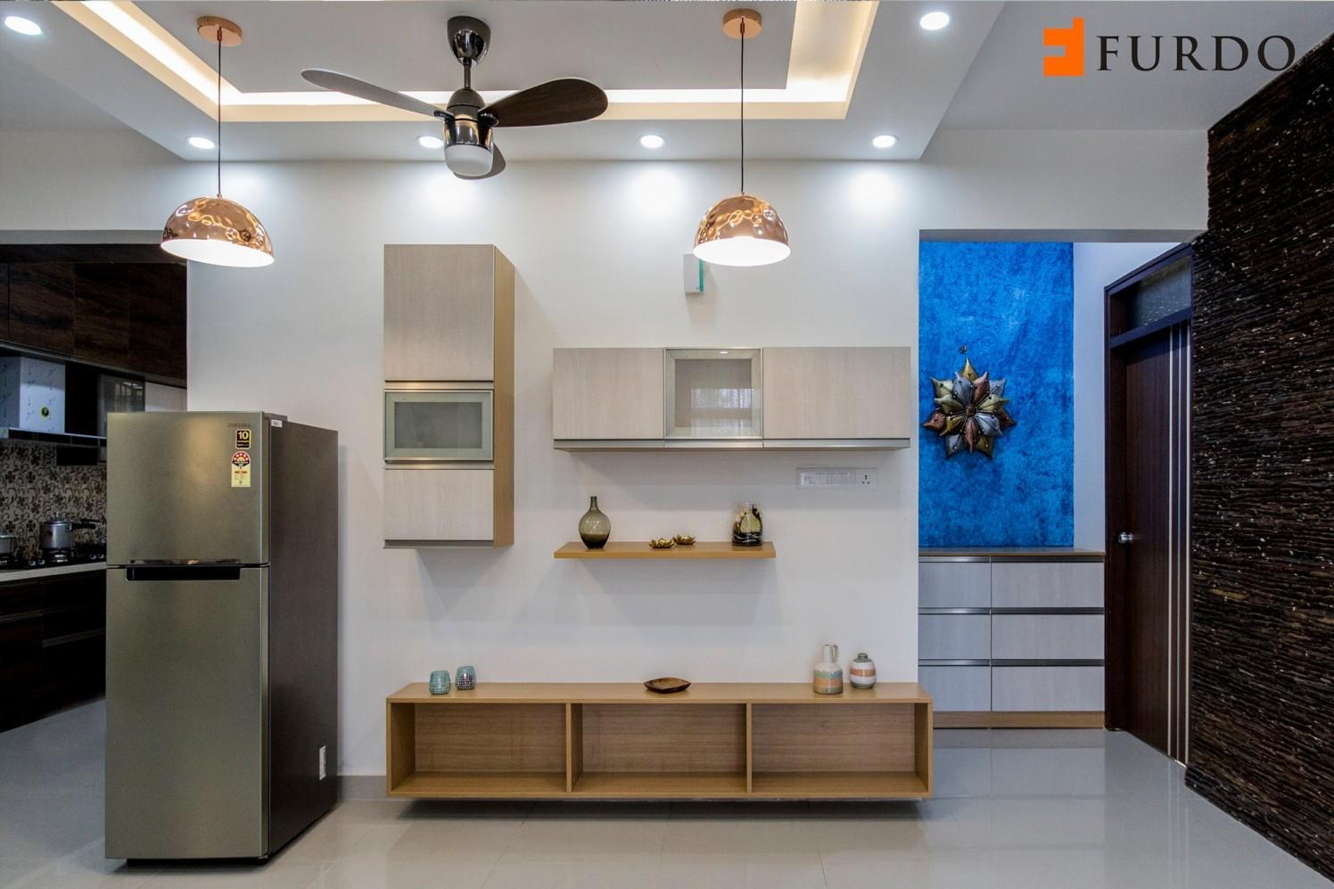 Wooden Display With Modern False Ceiling by Furdo.com Living-room Modern   Interior Design Photos & Ideas