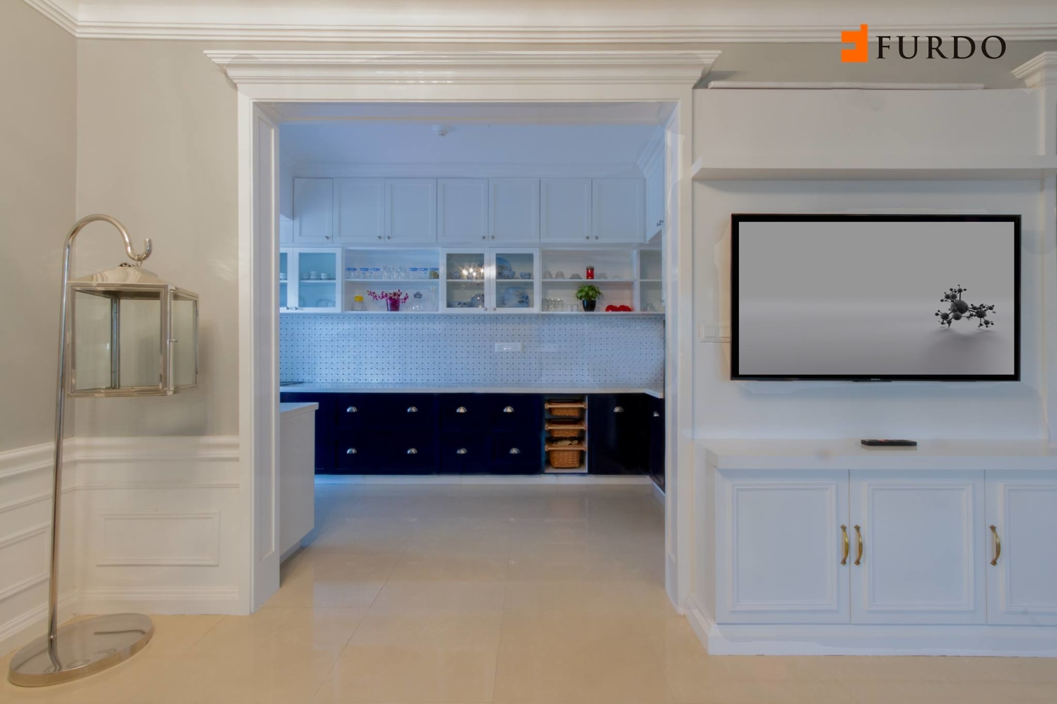 Hallway With Wooden Cabinets And Marble Flooring by Furdo.com Indoor-spaces Modern | Interior Design Photos & Ideas