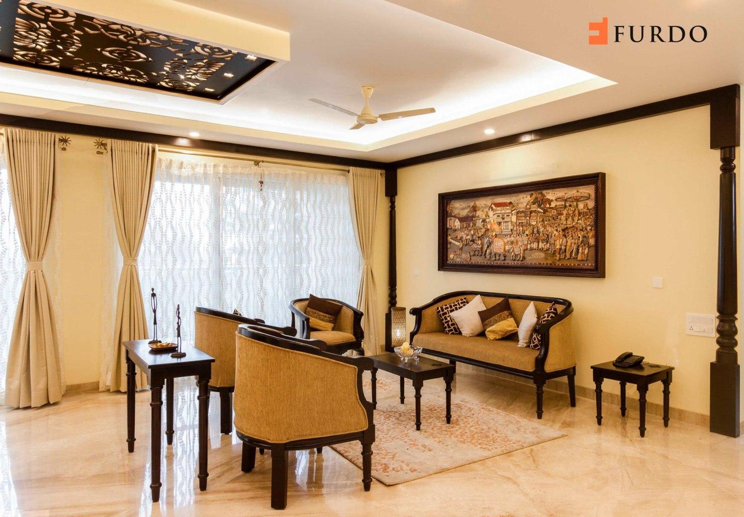 Living Room With Marble Flooring And Artistic False Ceiling by Furdo.com Living-room Vintage | Interior Design Photos & Ideas