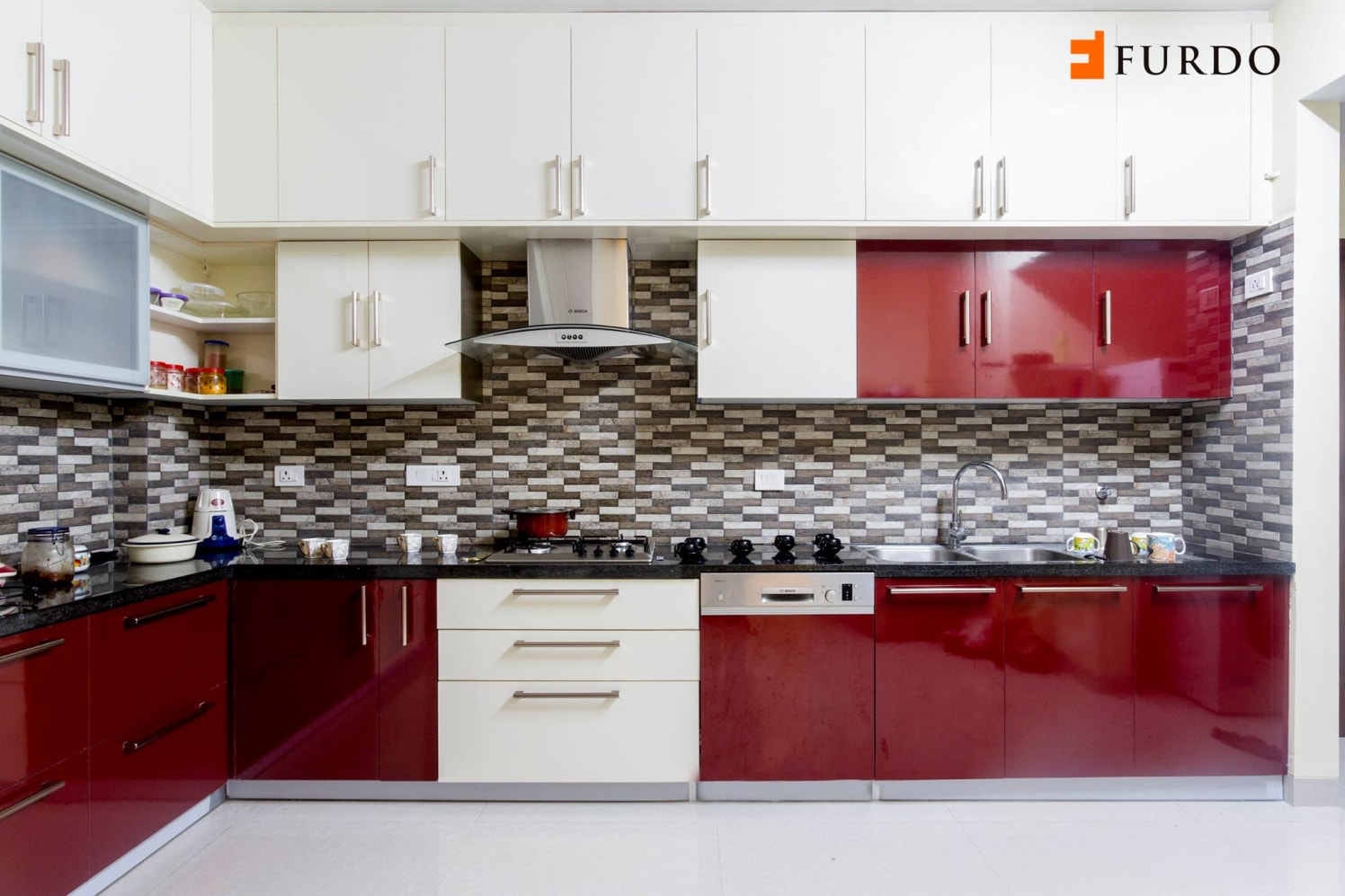 L shape kitchen with red & white cabinets by Furdo.com