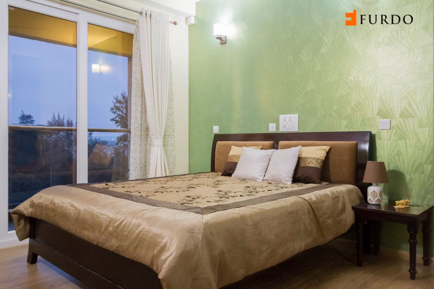 Bedroom With Green Wall Art and outside view by Furdo.com Bedroom Contemporary | Interior Design Photos & Ideas