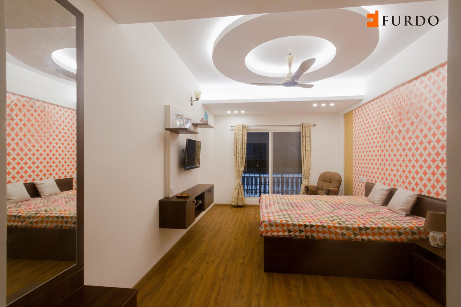 Bedroom With Artistic False Ceiling And Wall Art by Furdo.com Bedroom Modern | Interior Design Photos & Ideas