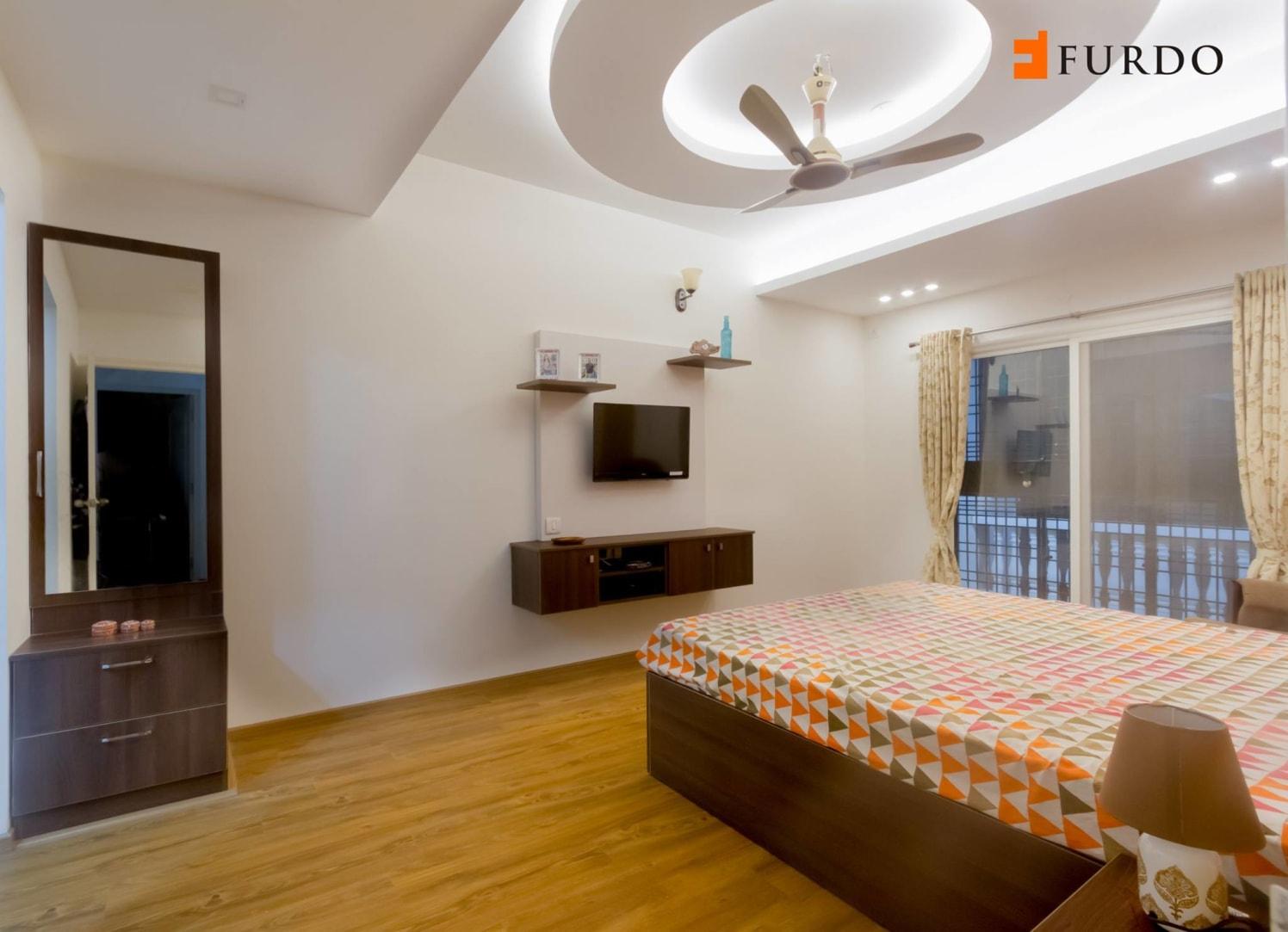 Bedroom With Wooden Flooring And Designer False Ceiling by Furdo.com Bedroom Modern | Interior Design Photos & Ideas