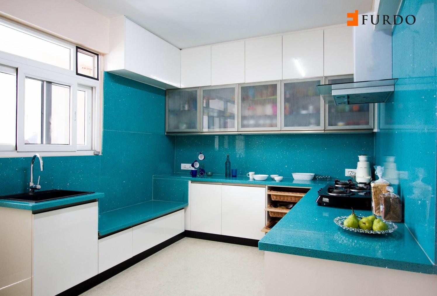 Blue Shade Interior Kitchen With Cabinets by Furdo.com Modular-kitchen Modern | Interior Design Photos & Ideas