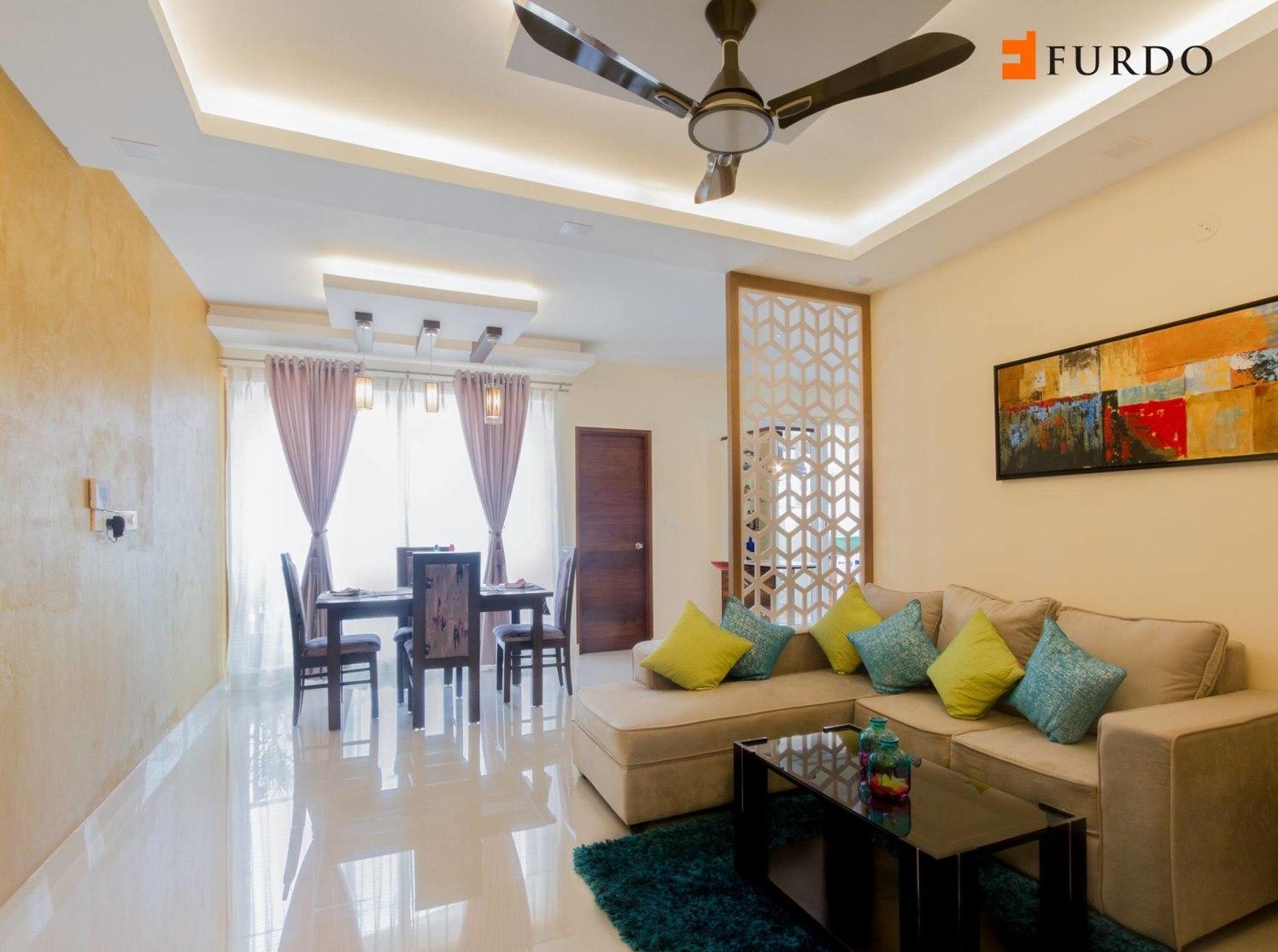 Cream sofa with colored cushions by Furdo.com Living-room Contemporary | Interior Design Photos & Ideas