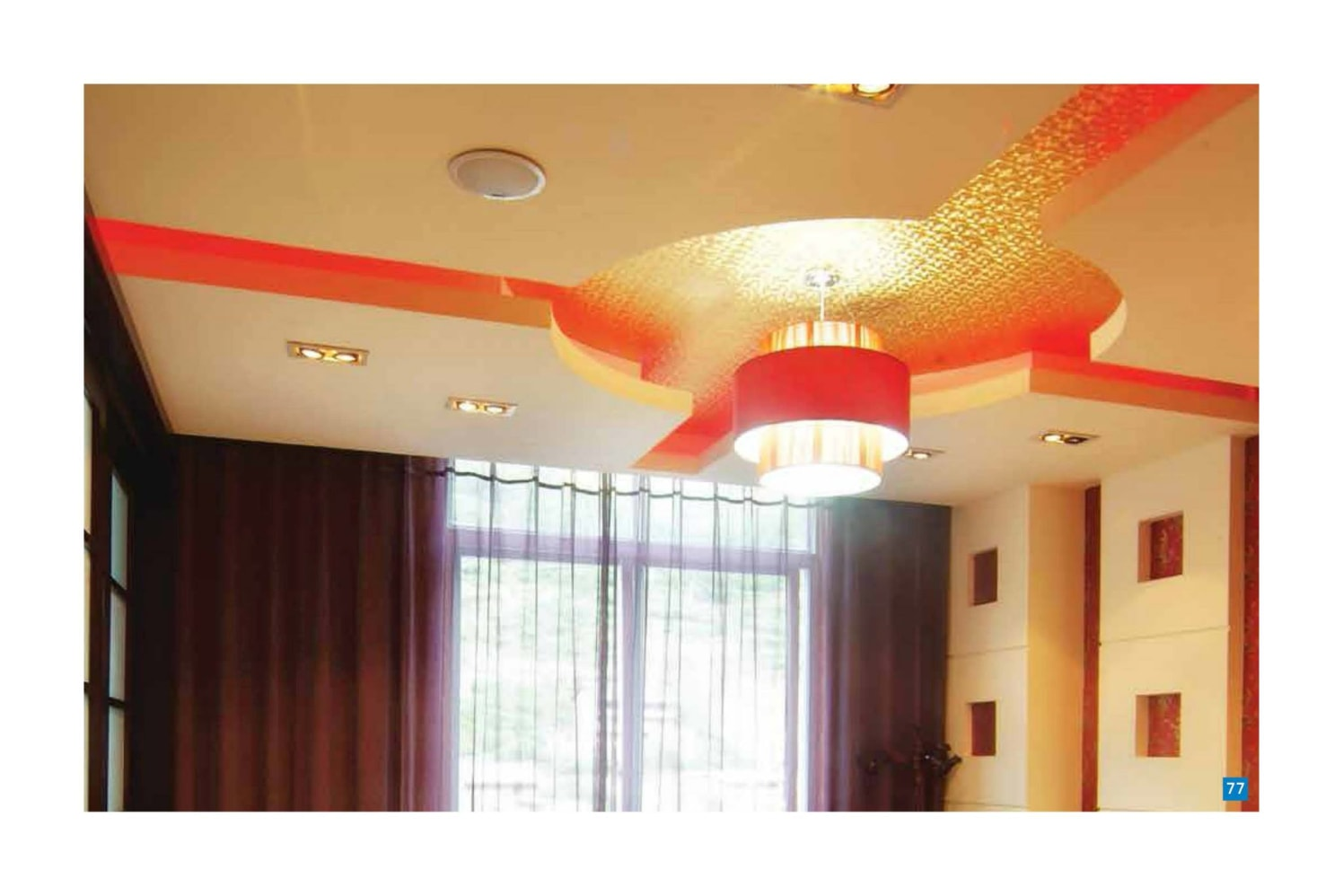 Marble Finished False Ceiling With Orange Highlights by Regalias Interiors Living-room Contemporary | Interior Design Photos & Ideas