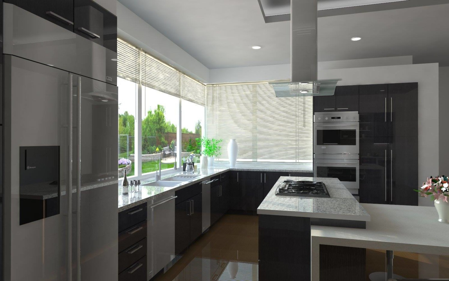 U Shaped Modular Kitchen with Modern Chimney and Outdoor ...