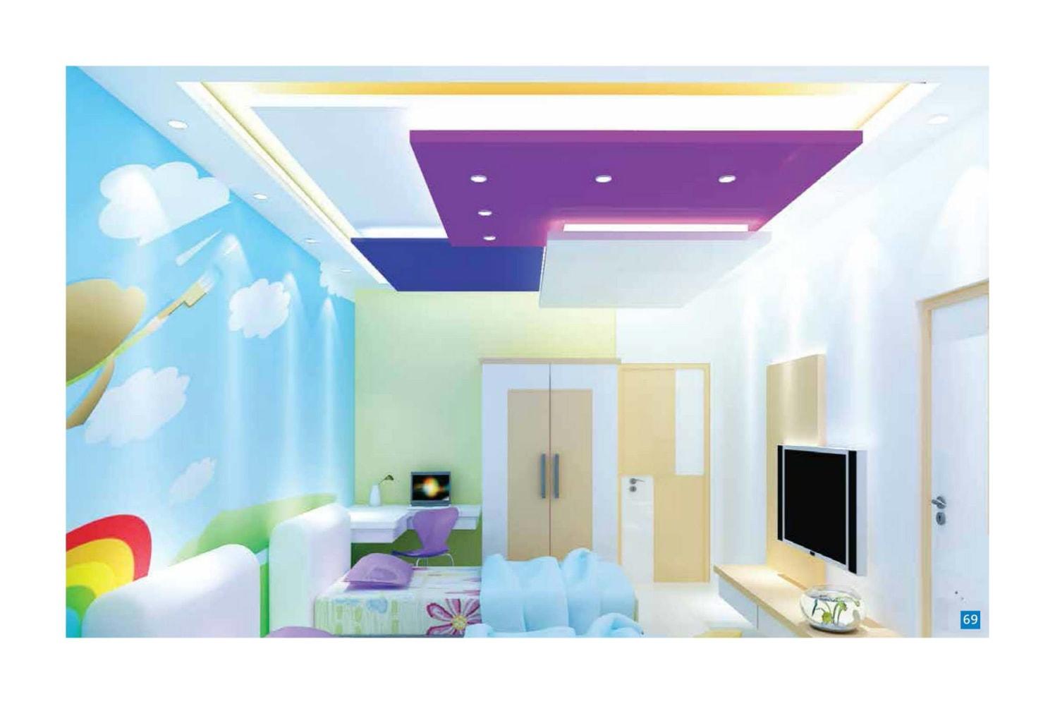 Pop Coloured Kids Bedroom with Violet Blue False Ceiling by Regalias Interiors Bedroom Modern | Interior Design Photos & Ideas