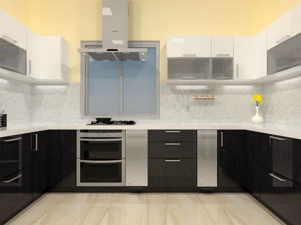 silver themed u shaped modular kitchen with marble