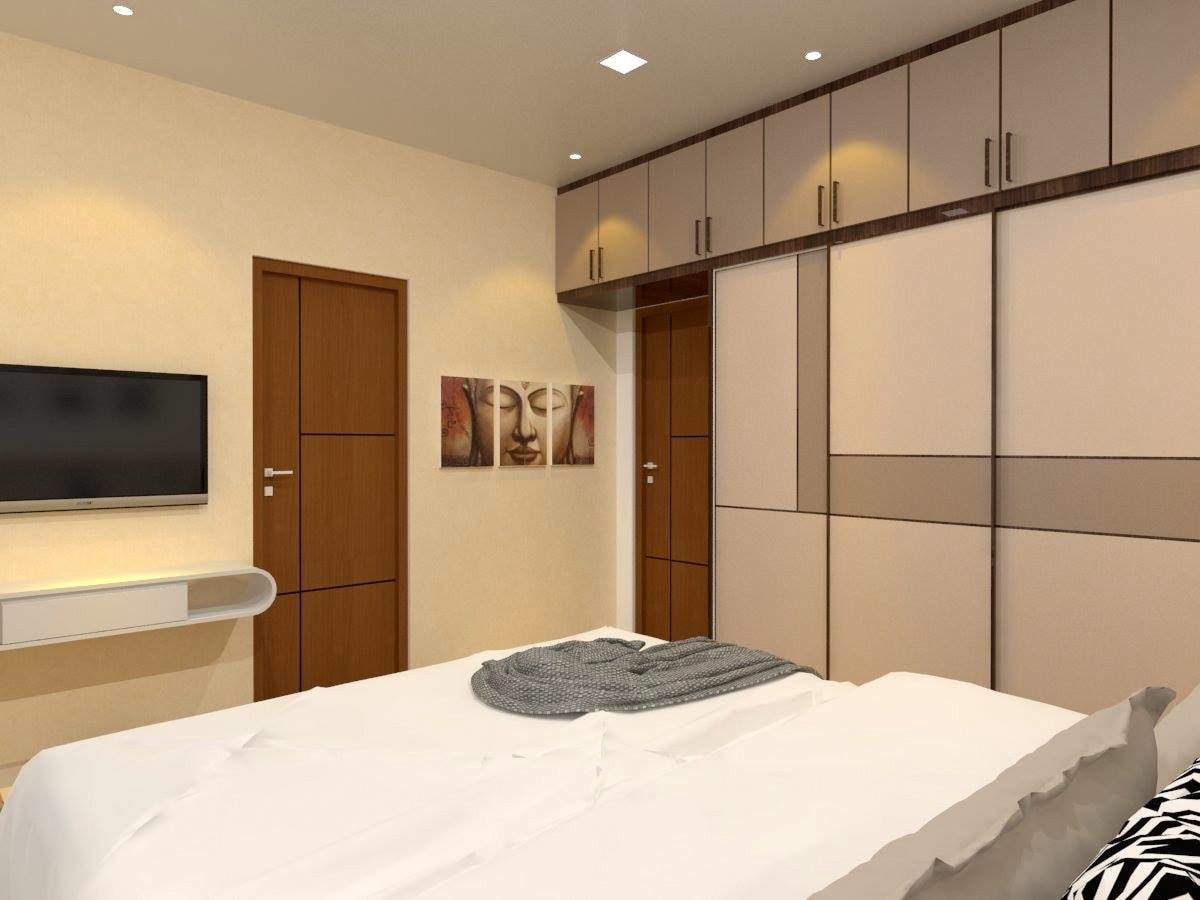 Minimalist Bedroom with Buddha Wall Painting by Regalias Interiors Bedroom Minimalistic | Interior Design Photos & Ideas