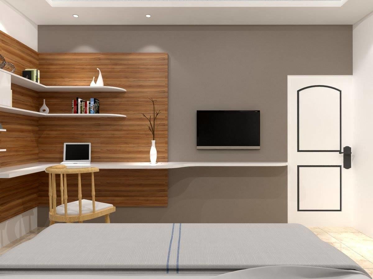 Minimalist Master Bedroom with Wooden Shelf Space by Regalias Interiors Bedroom Minimalistic   Interior Design Photos & Ideas