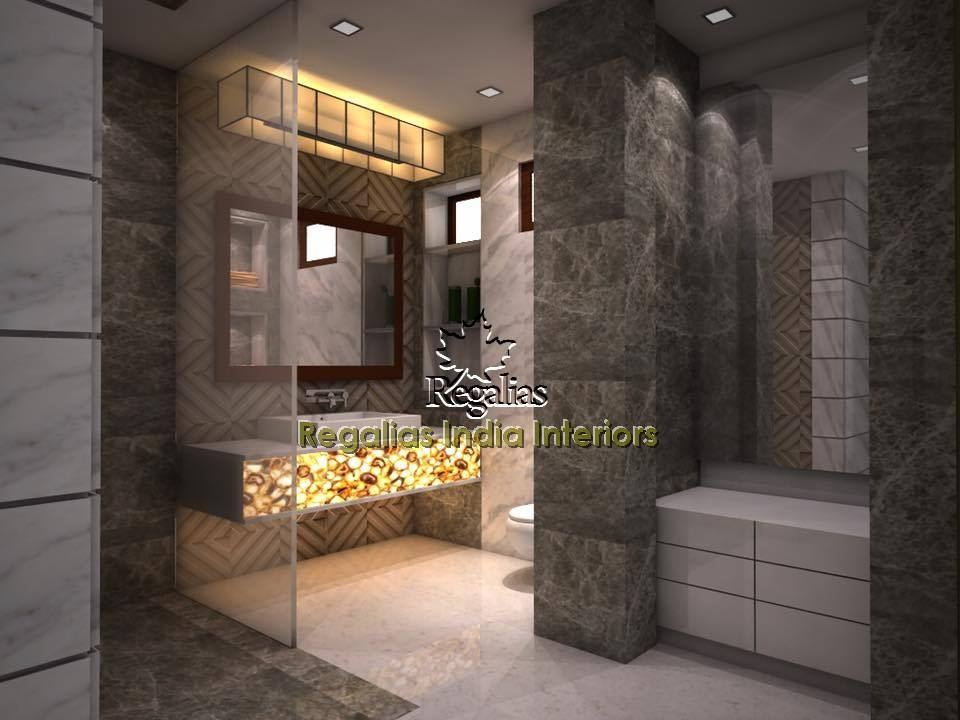 Bathroom With Limestone Walls by Regalias Interiors Bathroom Modern | Interior Design Photos & Ideas