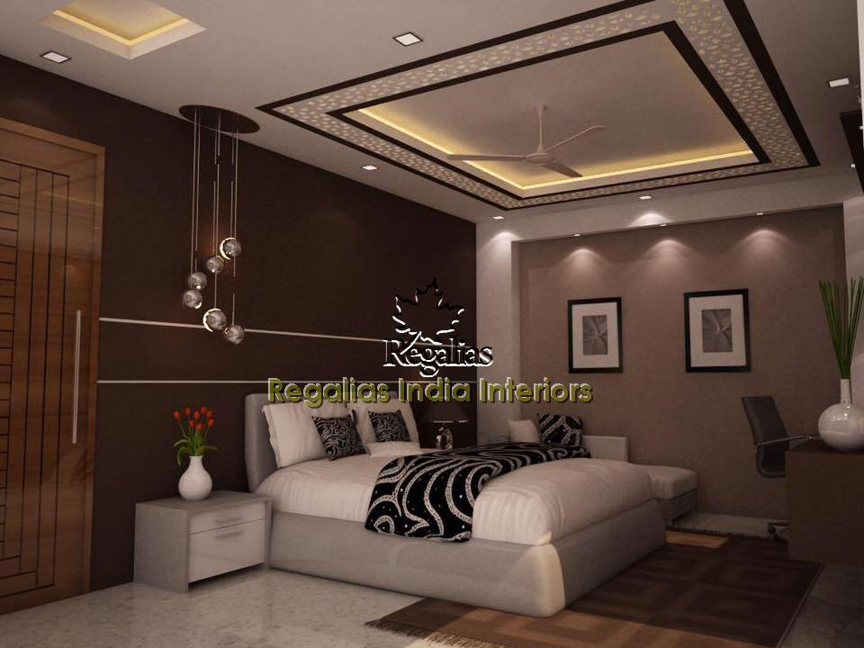 Bedroom With Dark Brown Walls And Modern Furniture by Regalias Interiors Bedroom Contemporary   Interior Design Photos & Ideas