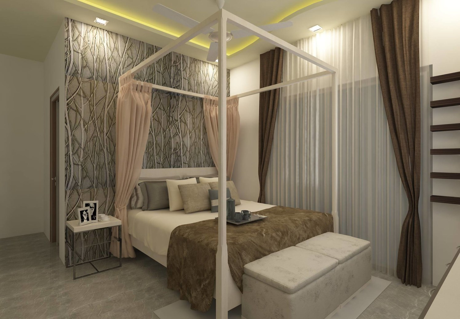 Brown Shaded Bedroom With Wall Art by Regalias Interiors Bedroom Contemporary | Interior Design Photos & Ideas