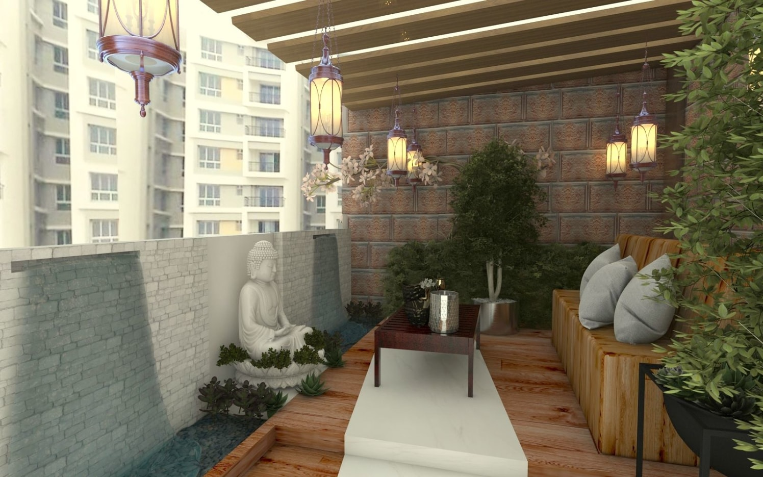Artistic Balcony With Wooden Seating by Regalias Interiors Open-spaces Contemporary | Interior Design Photos & Ideas