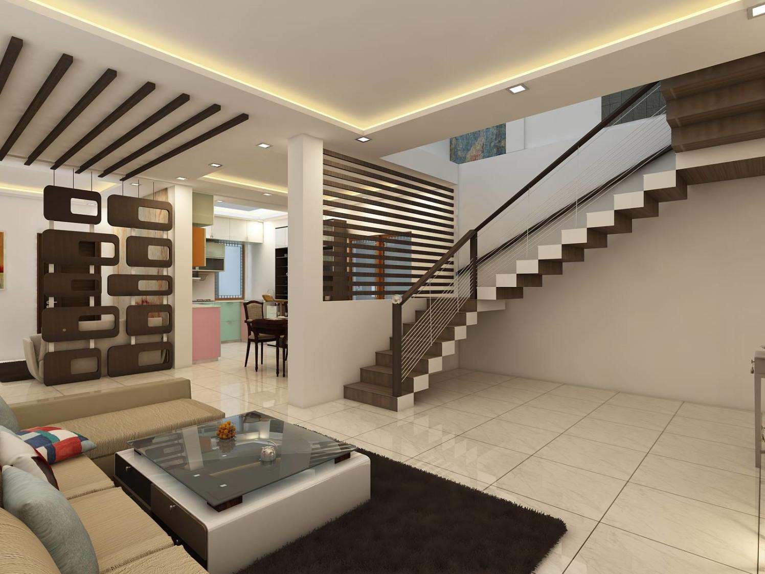 Spacious Hallway with false ceiling  and stair case by Regalias Interiors Living-room Minimalistic | Interior Design Photos & Ideas