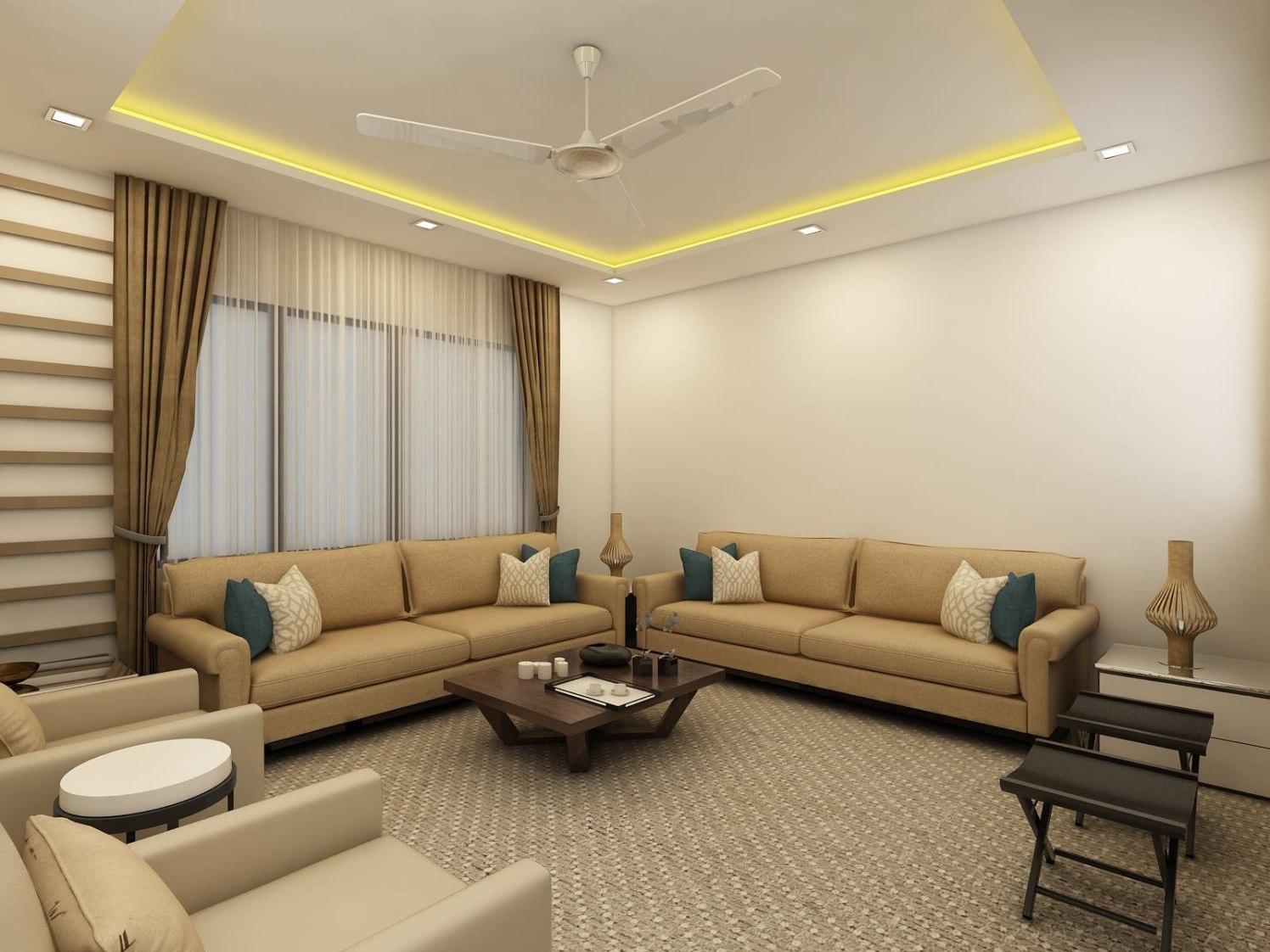 Cream color sofa  with color cushions  and false ceiling by Regalias Interiors Living-room Contemporary | Interior Design Photos & Ideas