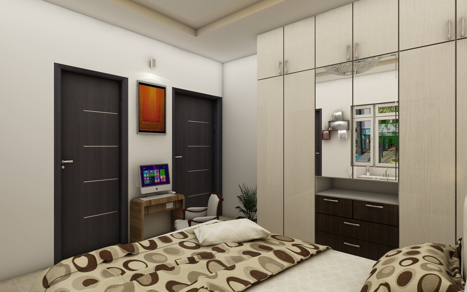 Bed with wardrobe  and computer table by Regalias Interiors Bedroom Contemporary | Interior Design Photos & Ideas