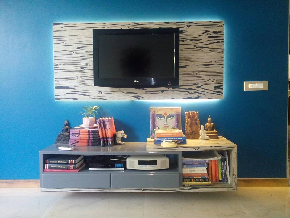 Blue and Wood Living Room by Infurn Designs Living-room Modern | Interior Design Photos & Ideas