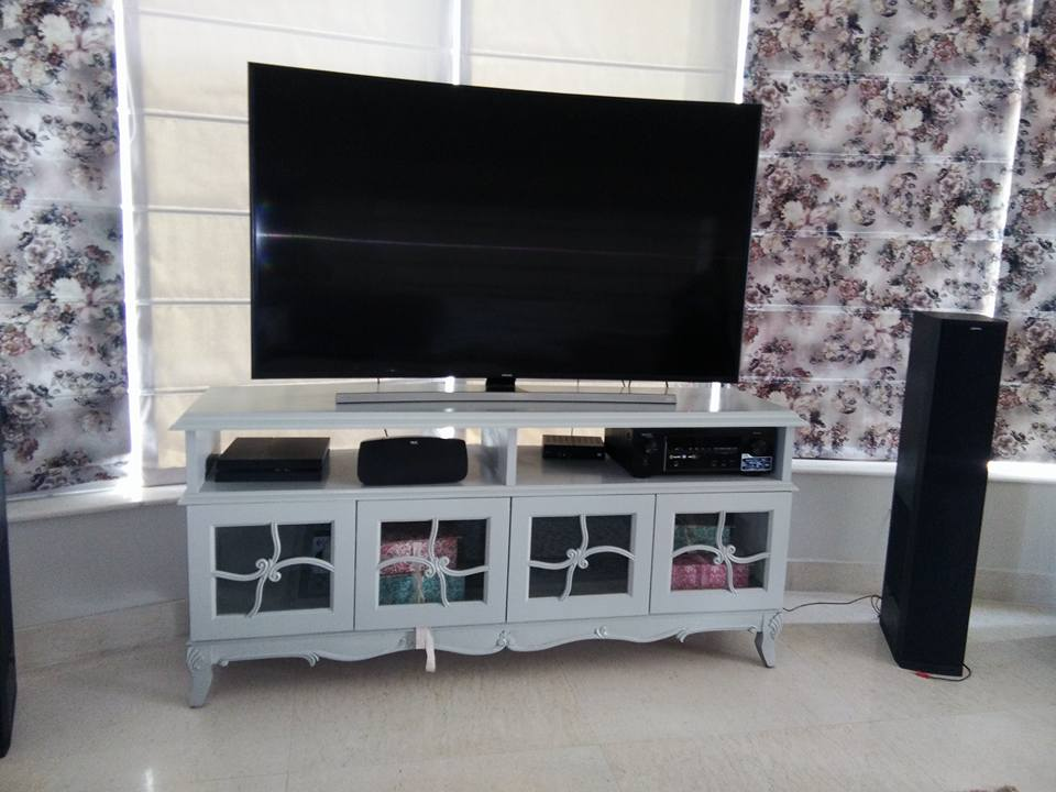 3-D Effect Wallpaper TV Cabinet by Infurn Designs Living-room Modern   Interior Design Photos & Ideas