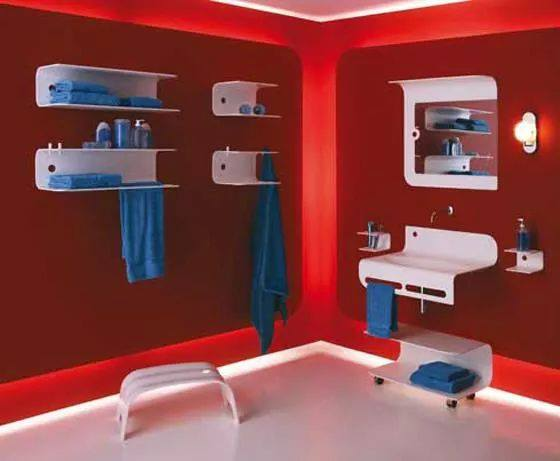 Red Themed Bathroom With Blue Bathroom Essentials by HOC Designarch Bathroom Contemporary | Interior Design Photos & Ideas