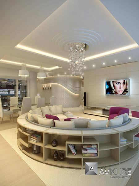 Living Room With Round Sofa And Crystal Chandelier by HOC Designarch Living-room Contemporary | Interior Design Photos & Ideas