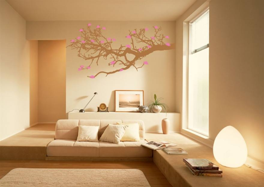Cream Themed Living Room With Tree Wall Art by HOC Designarch Living-room Contemporary | Interior Design Photos & Ideas