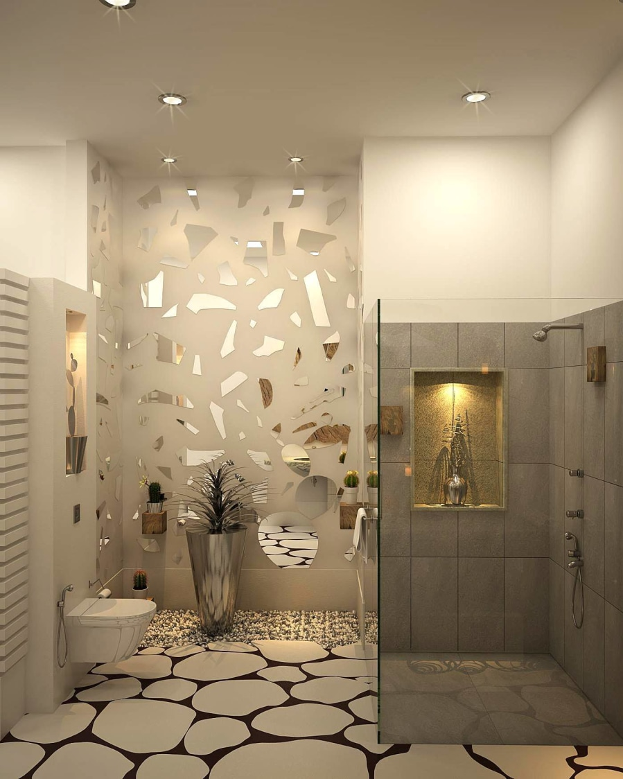 Bathroom With Glass Wall Work And Walk In Shower Enclosure by HOC Designarch Bathroom Contemporary | Interior Design Photos & Ideas